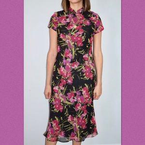 90's floral & polka dot midi dress